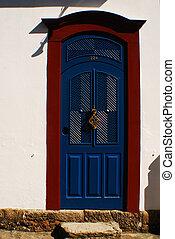 明亮的藍色, 門, 由于, 紅色, 修剪