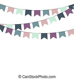明亮, 多种顏色, buntings, garlands.