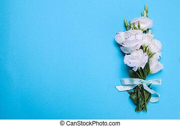 明亮, 花束, 蓝色, eustoma, 美丽, 花, 铭刻, 背景, 白色, 地方, 察看, 顶端