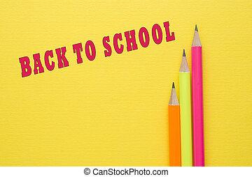 明亮, 被給上色鉛筆, 上, 黃色, 背景。, 回到學校