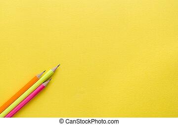 明亮, 被給上色鉛筆, 上, 黃色, 背景。, 模仿空間