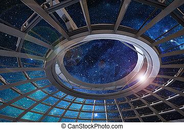星が多い空, ドーム, 未来派, 下に