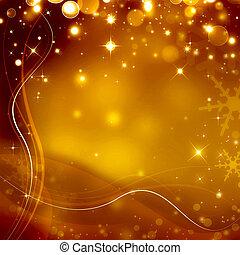 星が多い, クリスマス, 背景, 金