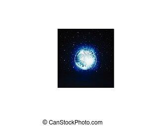 星が多い, フルである, 夜, 月