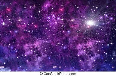 星が多い, 外の, 空, 海原, スペース