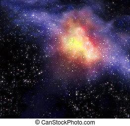 星が多い, 外の, 背景, 海原, スペース