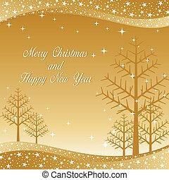 星が多い, 木, クリスマス, 背景