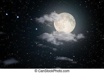 星が多い, 満月, 夜