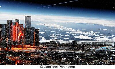星が多い, 都市, 大気, 空, に対して, 未来派