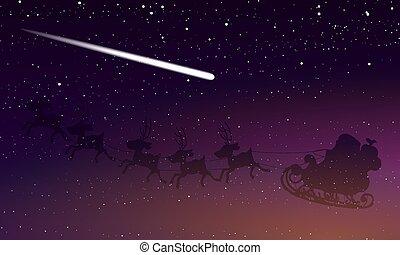 星が多い, claus, 空, santa, 夜, 彗星