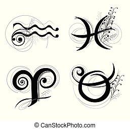 星占い, クラシック, シンボル, aquarius, taurus, デザイン, 手紙, 牡羊座, 魚座, 黄道帯, ∥あるいは∥