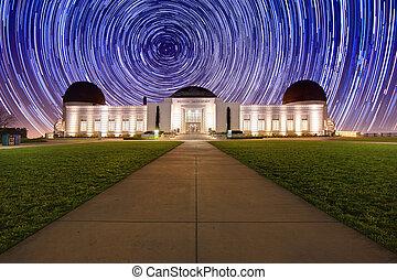 星小道, の後ろ, ∥, griffith 天文台, 中に, ロサンゼルス, ca