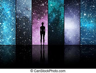 星座, 宇宙, スペース, collection., 背景, 形。, 外国人, 星, 惑星
