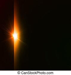 星突發, 黃色, 上, 黑色, 背景。, 矢量
