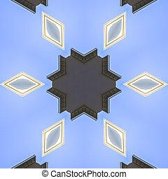 星, のまわり, 抽象的, ダイヤモンド, 六角形, イメージ