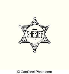 星, アウトライン, 保安官, いたずら書き, 手, 引かれる, icon.