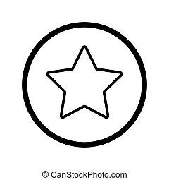 星, アウトライン, 単純である, star., イラスト, ベクトル, 黒, icon., 白, 線である