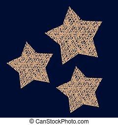 星, アウトライン, 枝編み細工, wireframe, ハンドメイド, 装飾, 星