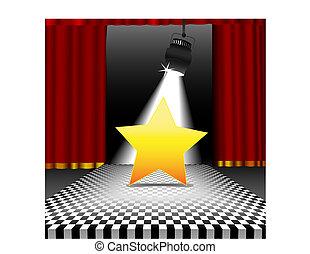 星, コピースペース, 中に, ∥, スポットライト, 上に, ディスコ, チェッカーボード 床