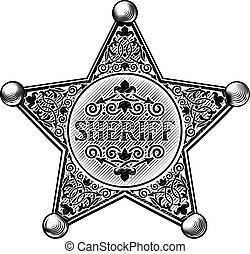 星, スタイル, バッジ, 保安官, 木版