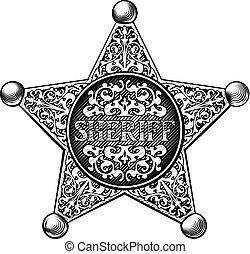 星, スタイル, バッジ, 西部, 保安官
