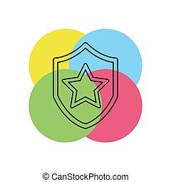 星, セキュリティー, ベクトル, 紋章, 保護