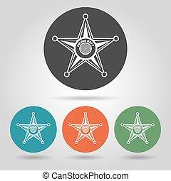 星 セット, バッジ, 保安官, アイコン