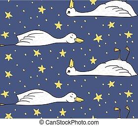 星, パターン, 眠い, アヒル, ベクトル, アヒル