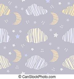 星, パターン, 空, seamless, 夜, 雲