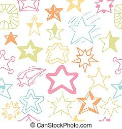星, パターン, seamless, 手, stars., sketchy, 背景, 引かれる