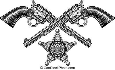 星, ピストル, バッジ, 保安官