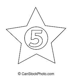 星, ホテル, イラスト, 5, デザイン, アイコン
