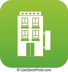 星, ホテル, 5, デジタル, 緑, アイコン