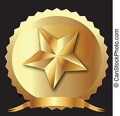 星, リボン, 金のシール