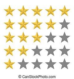 星, レビュー, フィードバック, 金, 5, row.