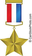 星, 三色旗, -, メダル, 金