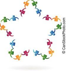 星, 人々, 形, チームワーク, 手を持つ, ロゴ