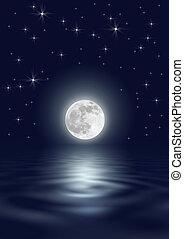 星, 以及, 月亮, 美麗