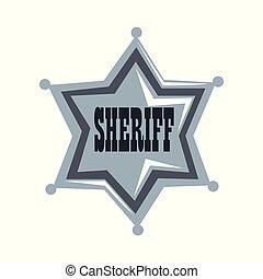 星, 保安官, イラスト, ベクトル, 背景, 白, バッジ, 銀
