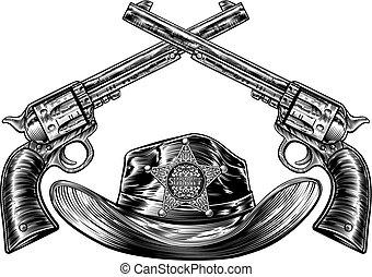 星, 保安官, カウボーイ, バッジ, 帽子, 銃