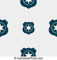 星, 保安官, パターン, 印。, seamless, ベクトル, 幾何学的, texture., アイコン