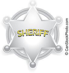 星, 保安官, ベクトル, 白, バッジ, 銀