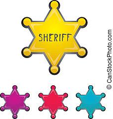 星, 保安官, 色, 隔離された, ベクトル, 白