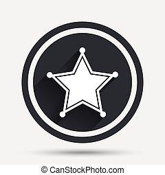 星, 保安官, button., 印, 警察, icon.