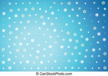 星, 冬天, 背景, 雪花