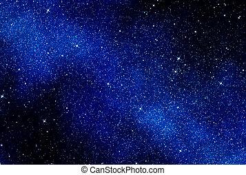 星, 在中, 空间, 或者, 夜晚天空