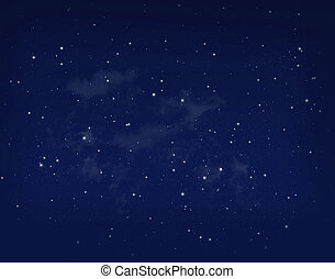 星, 在, a, 夜晚, 藍色的天空