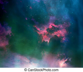 星, 在, the, 夜晚天空, 以及, 星系
