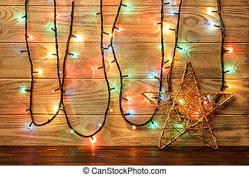 星, 床, 木製である, 大きい, オブジェクト, に対して, wall., 背景