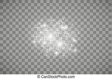 星, 微片, 白, 抽象的, ライト, フラッシュ, ベクトル, クリスマス, 隔離された, 道, 概念, 透明, 光っていること, 波, ほこり, 白熱, illustration., concept., きらめき, バックグラウンド。, effect., マジック